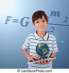 holographic, sur, fond, équation, peu, globe, il, maths, ...