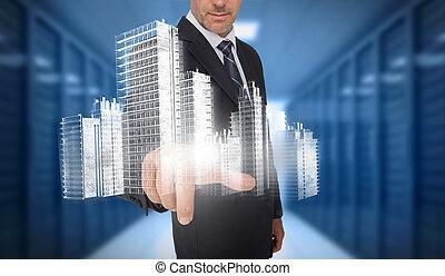 holographic, ville, toucher, homme affaires