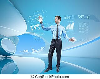 Holographic virtual interface - Young businessman navigating...