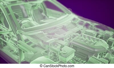 holographic, voiture, wireframe, animation, modèle, 3d