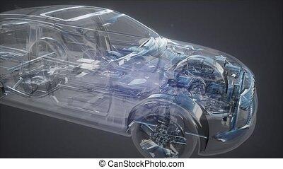 holographic, wóz, wireframe, ożywienie, wzór, 3d