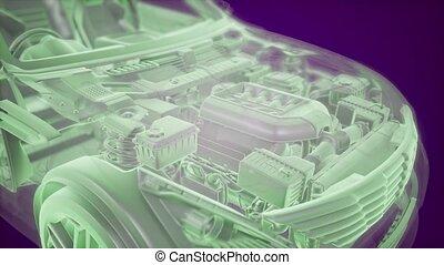 holographic, wóz, wireframe, wzór, ożywienie, 3d