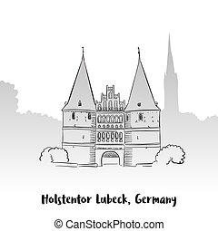 holstentor, lubeck, グリーティングカード