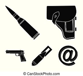 Holster, cartridge, air bomb, pistol. Military and army set collection icons in black style vector symbol stock illustration web.