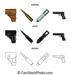 Holster, cartridge, air bomb, pistol. Military and army set collection icons in cartoon, black, outline style bitmap symbol stock illustration .