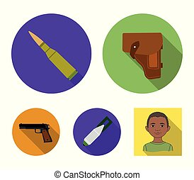 Holster, cartridge, air bomb, pistol. Military and army set collection icons in flat style vector symbol stock illustration web.