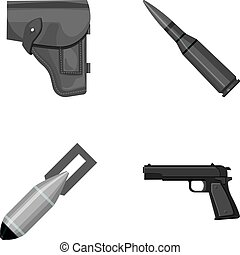 Holster, cartridge, air bomb, pistol. Military and army set collection icons in monochrome style vector symbol stock illustration web.