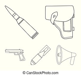 Holster, cartridge, air bomb, pistol. Military and army set collection icons in outline style vector symbol stock illustration web.