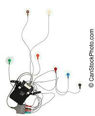 holter, heart monitor, con, ruta de recorte