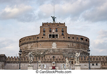 Holy Angel Bridge And Castle Of The Holy Angel, Rome, Italy