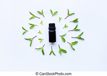 Holy basil essential oil in a glass bottle on white background