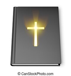 Holy Bible book with black cover and shining cross symbol