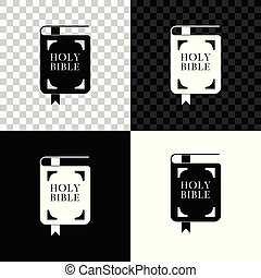 Holy bible book icon isolated on black, white and transparent background. Vector Illustration