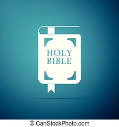 Holy bible book icon isolated on blue background. Flat design. Vector Illustration