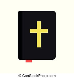 Holy Bible. Christian book of sacred texts. Religious literature. Religion traditions of Orthodox church. Icon in flat style. Isolated vector illustration
