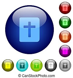 Holy bible icons on round glass buttons in multiple colors. Arranged layer structure