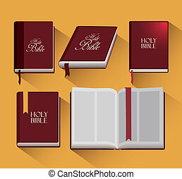 Holy bible design over yellow background, vector...