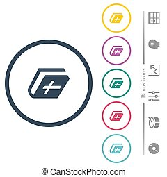 Holy bible flat color icons in round outlines. 6 bonus icons included.