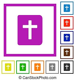 Holy bible flat color icons in square frames on white background