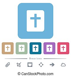 Holy bible white flat icons on color rounded square backgrounds. 6 bonus icons included