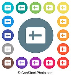 Holy bible flat white icons on round color backgrounds. 17 background color variations are included.