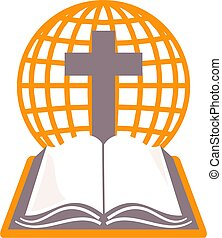 holy bible - Holy bible, cross and grid globe representing...