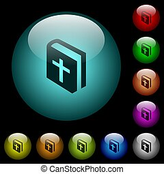 Holy bible icons in color illuminated spherical glass buttons on black background. Can be used to black or dark templates