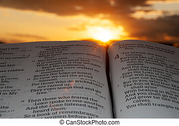 Holy Bible open at sunset with highlight on Malachi 4:2. Background with clouds and sunbeams