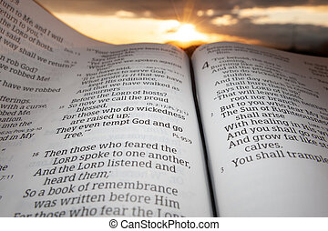 Holy Bible open at sunset with highlight on Malachi chapter 4 verse 2. Background with sun and clouds