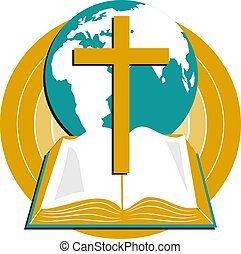 Open bible with cross and world globe design.