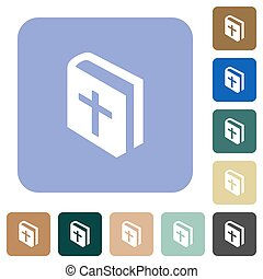 Holy bible white flat icons on color rounded square backgrounds