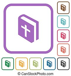 Holy bible simple icons in color rounded square frames on white background