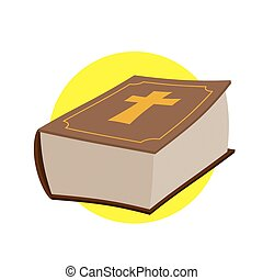 Holy Bible. Thick old book with a cross. Old and New Testament. Religious Christian vector illustration.