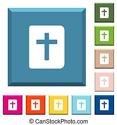 Holy bible white icons on edged square buttons in various trendy colors
