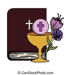 holy bible with chalice and flowers vector illustration...