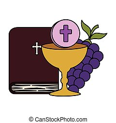 holy bible with chalice and grapes vector illustration...