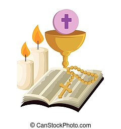 holy bible with chalice and rosary vector illustration...
