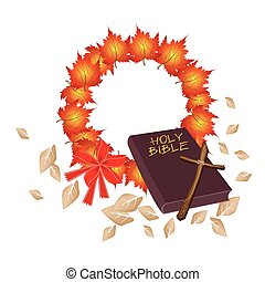 Holy Bible with Christmas Wreath of Orange Maple