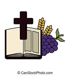 holy bible with cross and grapes vector illustration design
