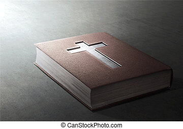 Holy Bible with cross on cover