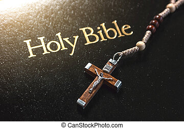 Holy Bible with crucifix