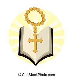 holy bible with rosary vector illustration design