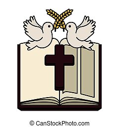 holy bible with wooden cross and doves vector illustration...