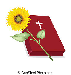 Holy Bible with Wooden Cross and Sunflower