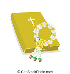 Holy Bible with Wooden Cross and Flower Garland