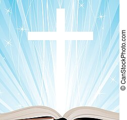 Holy Book and shine - Open book and cross on a blue ...
