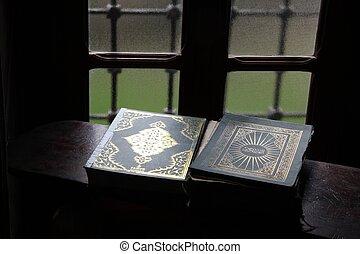 Holy book of Koran, Aladza painted mosque, Tetovo, Macedonia