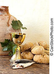 Holy bread and fish - Bread and fish with an antique wine...