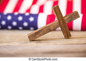 Holy Christian Cross and American Flag Background