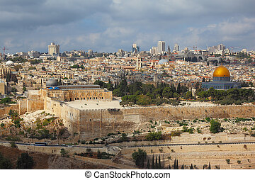 Holy City of Jerusalem. The magnificent panorama of the...